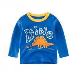 Кофта для мальчика, реглан, синяя. Оранжевый стегозавр.