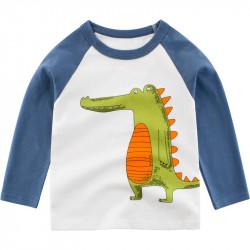 Кофта для мальчика, реглан, белая. Зеленый крокодил.