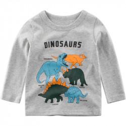 Кофта для мальчика, реглан, серая. Разнообразные динозавры.