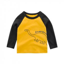 Кофта для мальчика, реглан, желтая. Бронтозавр.