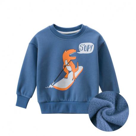 Утепленная кофта для мальчика, свитшот, синяя. Дино на сапборде.