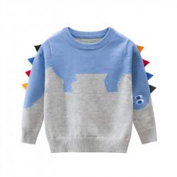 Свитер для мальчика, свитшот, серый. Голубой стегозавр.