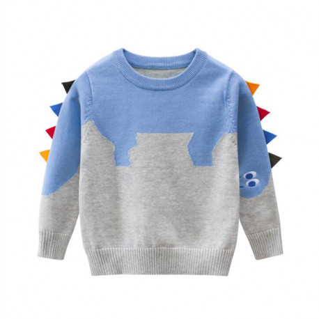 Свитер для мальчика, свитшот, серы. Голубой стегозавр.