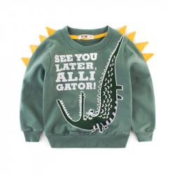 Кофта для мальчика, свитшот, зеленая. Аллигатор.