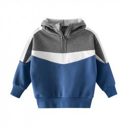 Утепленная кофта для мальчика, синяя. Спортик.