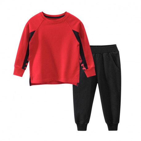 Костюм для мальчика 2 в 1, спортивный, красный. Надписи.
