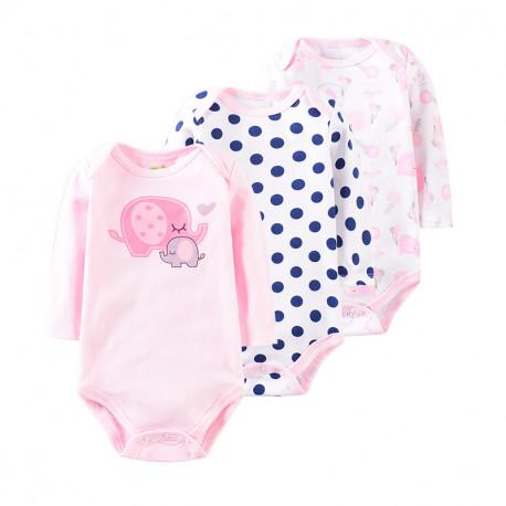Боди для девочки, розовый. Слонята и горошек. (3 шт.)
