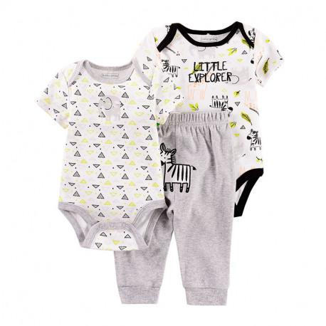 Комплект для мальчика 3 в 1, серый. Зебра и слон.