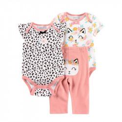 Комплект для девочки 3 в 1, розовый. Кися и леопард.