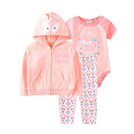 Комплект для девочки 3 в 1, розовый. Дикая лисичка.
