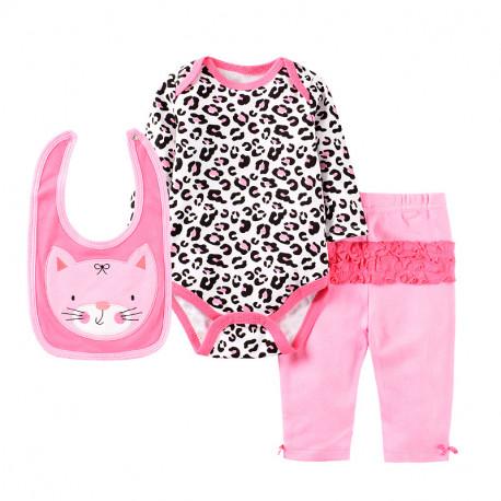 Набор для девочки 3 в 1, розовый. Леопард.