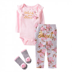 Набор для девочки 3 в 1, розовый. Нежные розы.