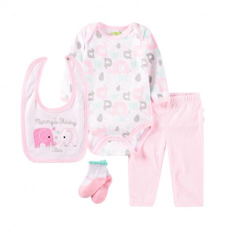 Набор для девочки 4 в 1, розовый. Семья слонят.
