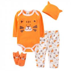 Набор для мальчика 4 в 1, оранжевый. Красивый тигр.