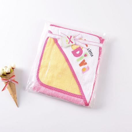 Полотенце с уголком, розовое. Маленькая принцесса. 75*75 см.