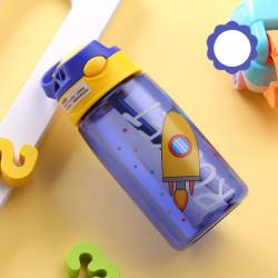 Бутылка детская пластиковая, поильник, синяя. Ракета. 480 мл.