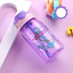 Бутылка детская пластиковая, поильник, сиреневая. Якорь. 480 мл.