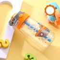 Бутылка детская пластиковая, поильник, оранжевая. Корабль. 480 мл.
