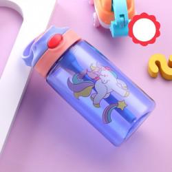 Бутылка детская пластиковая, поильник, фиолетовая. Единорог цветной. 480 мл.