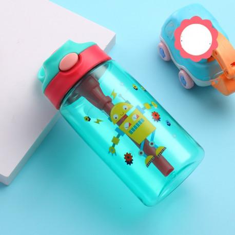 Бутылка детская пластиковая, поильник, бирюзовая. Робот. 480 мл.