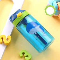 Бутылка детская пластиковая, поильник, синяя. Кашалот. 480 мл.