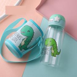 Бутылка с чехлом пластиковая, поильник, мятная. Малыш дино. 700 мл.