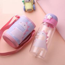 Бутылка с чехлом пластиковая, поильник, лиловая. Голодный дино. 700 мл.