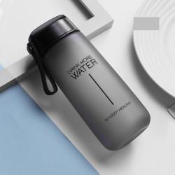 Бутылка пластиковая, черная. Drink more water. 600 мл.