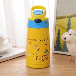 Термос детский, термос-поильник, желтый. Счастливый жираф. 400 мл.