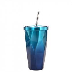 Термокружка с трубочкой, термочашка, синяя. Стильные грани. 500 мл.