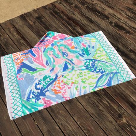 Полотенце махровое с капюшоном. Акварельная русалочка. 76*127 см.