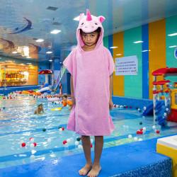 Полотенце-пончо, розовое. Единорог. 70*70 см.
