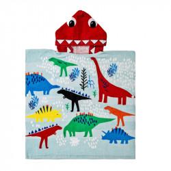 Полотенце пончо, голубое. Семья динозавров. 60*60 см.