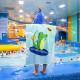 Полотенце пончо, голубое. Крокодил - серфер. 60*60 см.