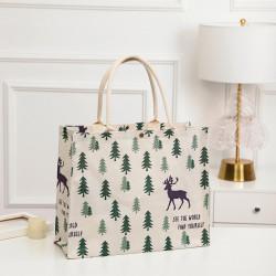 Сумка-шоппер, шоппер, сумка, экосумка, белая. Олень в лесу.