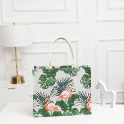 Сумка-шоппер, шоппер, сумка, экосумка, белая. Фламинго в тропиках.