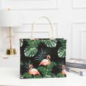 Сумка-шоппер, шоппер, сумка, экосумка, черная. Фламинго в тропиках.