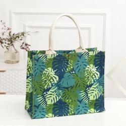 Сумка-шоппер, шоппер, сумка, экосумка, зеленая. Листья монстеры.