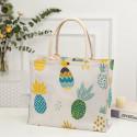 Сумка-шоппер, шоппер, сумка, экосумка, белая. Цветные ананасы.