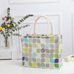 Сумка-шоппер, шоппер, сумка, экосумка, белая. Цветные листочки.