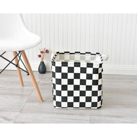 Корзина для игрушек, квадратная, белая. Шахматная доска.