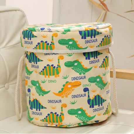 Корзина для игрушек с игровым ковриком-мешком, белая. Динозаврики.