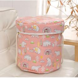 Корзина для игрушек с игровым ковриком-мешком, розовая. Мишки.