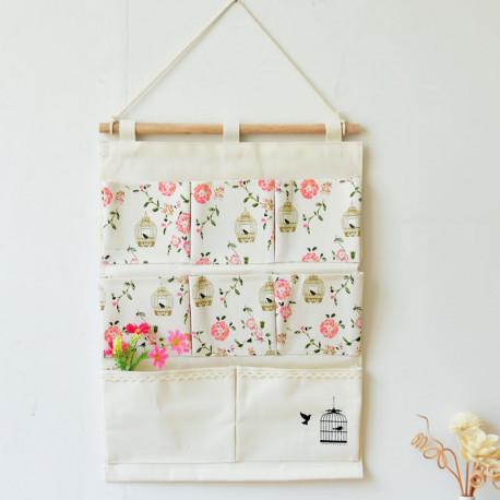 Подвесной органайзер с карманами, белый. Канарейка и розы. (8 карманов)
