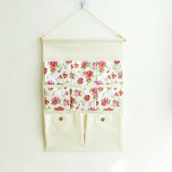 Подвесной органайзер с карманами, белый. Вьющая роза. (8 карманов)