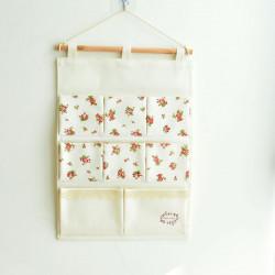 Подвесной органайзер с карманами, белый. Мелкая розочка. (8 карманов)