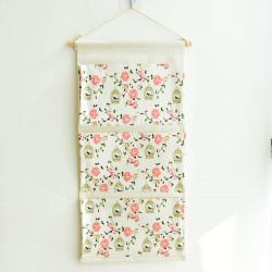 Подвесной органайзер с карманами, белый. Канарейка и розы. (3 кармана)