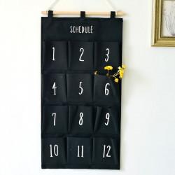 Подвесной органайзер с карманами, черный. Цифры. (12 карманов)