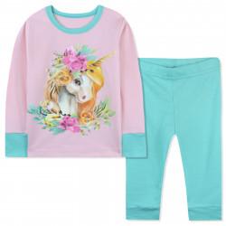 Пижама для девочки, розовая. Единорог и цветы.