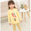 Пижама для девочки, желтая. Фламинго и пчелка.